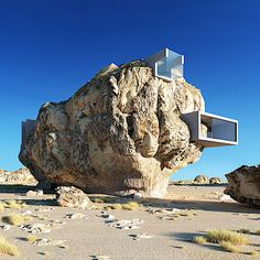 Architectural designer Amey Kandalgaonkar has created renderings of House Inside a Rock, a concept for a modernist concrete house built within a giant rock. Futuristic Design, Futuristic Architecture, Concept Architecture, House Architecture, Minimalist Architecture, Minimalist House Design, Modern Minimalist, Porches, Giant Boulder