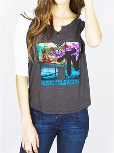 MTV women's henley shirt by Junk Food $44 triblend soft hight thread count fabric, color blocked (grey/white) OldSchoolTees.com