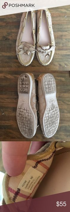 Coach Carisa Loafers Beautiful beige Coach loafers. Worn maybe 2-3 times. Ribbon detailing around the edge. Size 9B. Coach Shoes Flats & Loafers
