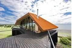 House at Punta Chilen, Chiloé Island, Chile by DRN Architects Wooden Architecture, Green Architecture, Residential Architecture, Architecture Design, Steel Frame House, Steel House, House Of The Rising Sun, Old Stone Houses, Corten Steel