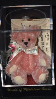 Vintage Bear Miniature For Dollhouse Doll Jointed Pink Artist Stacy Pio