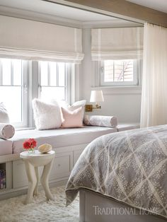 A cozy window seat provides the perfect perch for watching the waves or snuggling up with a book. Bedroom Sitting Room, Dream Bedroom, Master Bedroom, Beautiful Family, Beautiful Homes, Custom Drapes, Cozy Place, Beautiful Bedrooms, Living Room Chairs