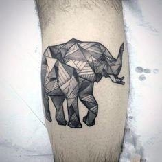 Mens Forearms Geometric Designed Elephant Tattoo