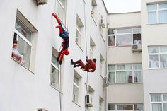 Policemen Dress up as Iconic Superheroes and Propel down the Sides of Buildings to Surprise and Cheer up Sick Children