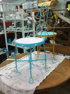 Painted Furniture, Vintage Market Furniture Paint, Chalk Paint, Painted Metal, Ice Cream Parlor Chairs, Blue and Pink, Orange and Blue