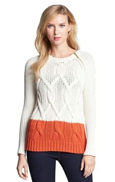 Zip Shoulder Colorblock Cable Sweater by Michael Kors | Privilege Clothing Boutique