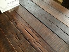 Go -green, recycle and reuse with reclaimed lumber. Using antique barn wood reduces the need to mill knew trees while saving the heritage of the old barn wood. Reclaimed Wood Table Top, Reclaimed Hardwood Flooring, Reclaimed Wood Projects, Reclaimed Lumber, Reclaimed Wood Furniture, Timber Flooring, Furniture Care, Furniture Design, Old Barn Wood
