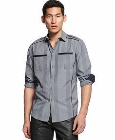 INC International Concepts Big  Tall Long Sleeve Cotliar Shirt - Casual Button-Down Shirts - Men - Macy's