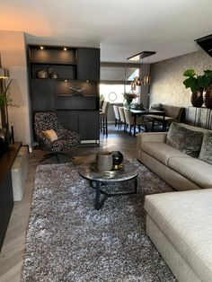 Project Vlaardingen - High ■ Exclusive living and garden inspiration. Living Room Grey, Home Living Room, Interior Design Living Room, Living Room Designs, Living Room Decor, Luxury Dining Room, Home And Deco, Small Living, House Design