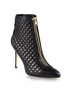 Brian Atwood Astrid Quilted Leather Ankle Boots