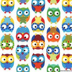 Cute set of owls.. Best nursery fabric ever!!!!!
