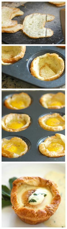 "Baked Eggs in Croissant ""Nests""  I feel like you might like these.  @Amy Lyons Brockway"