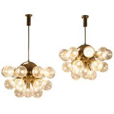 Pair of Extra Large Brass Half Sputnik Pendants