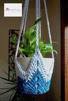 Vaso suspenso com crochê
