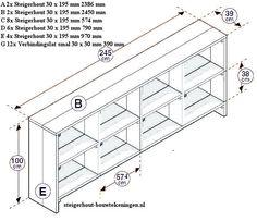 vakkenkast van steigerhout bouwtekening voor een laag model wandmeubel