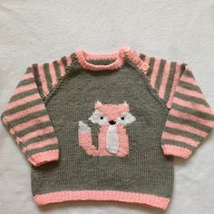 Fox Cub Sweater Set Knitting pattern by Hennie Baby Boy Knitting, Arm Knitting, Intarsia Knitting, Jumper Patterns, Pink Fox, Knit Baby Sweaters, Universal Yarn, Baby Scarf, Christmas Knitting Patterns
