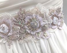Floral Beaded Lace Bridal Sash / Crystal & Pearl Wedding Sash Wedding Dress Sash, Bridal Sash, Wedding Dresses, Bridal Fascinator, Bridal Headpieces, Blush Pink, Pink Satin, Beaded Lace, 3 Weeks