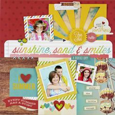 #papercraft #scrapbook #layout. NEW Simple Stories Good Day Sunshine - Scrapbook.com - Made with Simple Stories Good Day Sunshine collection.