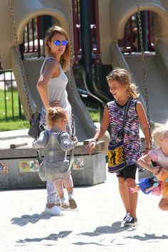 Jessica Alba and Cash Warren take their daughters Honor and Haven to Coldwater Canyon Park on September 21, 2014