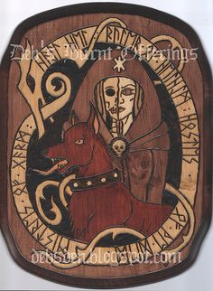 "2012 Pyrography on pine. Runes spell ""Hail Hel. Ruler of Helheim. Hostess of the Dead. Mistress of Garm."" Not for sale"