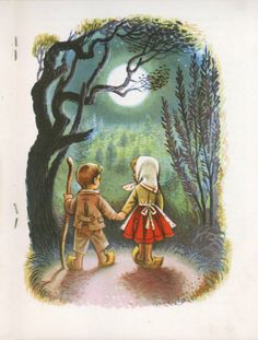 art, spot illustration, figure, child, boy, girl, behind, holding hands, Hansel and Gretel, fairy tale, tree, woodland, night, moon, lighting //
