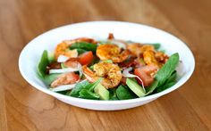Shrimp and Bacon Salad, with avacodo, tomatoes, etc. Yum! And this is a great site for GLUTEN FREE RECIPES!