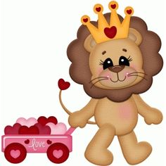 Silhouette Design Store: valentine lion pullling wagon