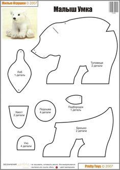 Free Stuffed Animal Polar Bear Plushie Sewing Pattern / Template #feltanimalspatternstemplates