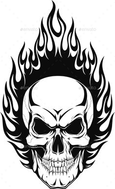 Vector Vector Illustration Of A Human Skull With Flames Royalty Free Cliparts, Vectors, And Stock Illustration. Image Illustration Of A Human Skull With Flames Royalty Free Cliparts, Vectors, And Stock Illustration. Skull Tattoo Design, Skull Design, Skull Tattoos, Body Art Tattoos, Sleeve Tattoos, Tattoo Designs, Skull Stencil, Totenkopf Tattoos, Skull Pictures