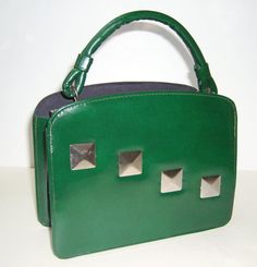 Vintage Emerald Green Patent Handbag with by Vintageables on Etsy, $49.00