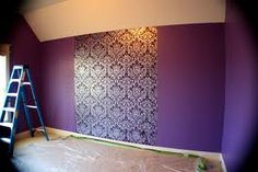 Great idea for my bedroom!  Paint all of the walls the same, then wallpaper the area where the head of the bed will go.