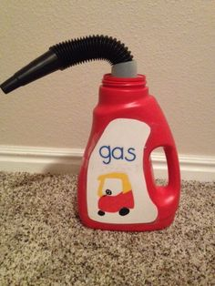 gas can Made from an empty Wisk detergent bottle. So cute!
