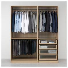 PAX Wardrobe White stained oak effect IKEA - Garderobe Pax Corner Wardrobe, Pax Wardrobe, Bedroom Wardrobe, Wardrobe Ideas, Wardrobe Storage, Storage Room, Closet Ideas, Pax Planer, Dressing Ikea