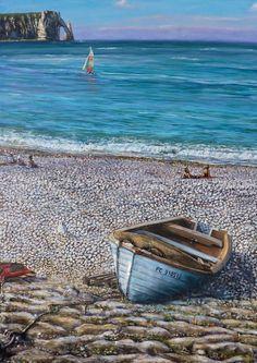 Peinture Barque sur la plage d'Etretat   Acrylique en Relief 3D