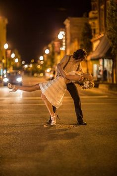 Night street photo idea for wedding couple. Jim Goodwin Photography.