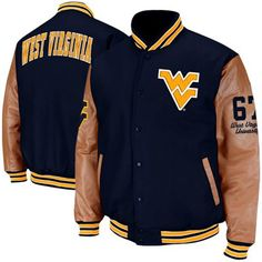 West Virginia Mountaineers Varsity Letterman Button-Up Jacket - Navy Blue/Tan