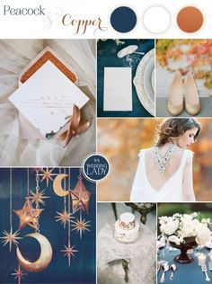 Bold Colors and Metallics for 2015 with Peacock Blue and Copper Wedding Inspiration