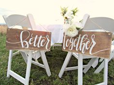 Better Together Wedding Chair Signs // Wood Wedding Decor // Hand Lettered Rustic Wedding by AtwoodAvenue on Etsy https://www.etsy.com/listing/274410032/better-together-wedding-chair-signs-wood