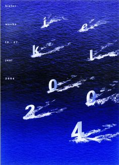 Words are deconstructed into letters, and letters become unfamiliar representations of familiar things (the sailboats) in this poster by Heribert Birnbach.