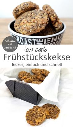 Frühstückskekse low carb - Low Carb Rezepte schlankmitverstand - Low carb breakfast cookies A low carb breakfast recipe for a healthy start to the day. Perfect for losing weight as part of a low carb / lchf / keto diet category: breakfast Breakfast Desayunos, Breakfast Biscuits, Breakfast Cookies, Breakfast Recipes, Breakfast Sandwiches, Dessert Recipes, Healthy Low Carb Recipes, Diet Recipes, Healthy Desserts