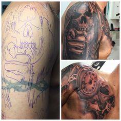 Tattoo Cover up Skull Totenkopf Uhr Tattoo Cover Up, Tattoo Artists, Skull, Tattoos, Skull And Crossbones, Clock, Tatuajes, Tattoo, Tattos