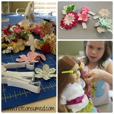 Doll Tea Party crafts  Ideas-making matching hair clips for doll and girl, simple dress as a favor, making matching bracelets for doll and girl, hair station (girls do dolls hair)