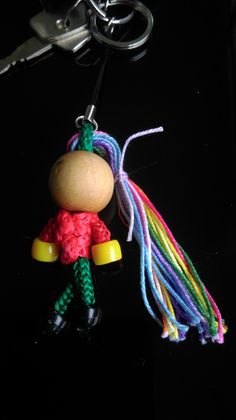 I have a little knitted girl on my car keys and she used to have a lot of hair - but the rubber band thing broke and she lost it all. So the other day, I gave her some great, crazy colours to make her look cool.