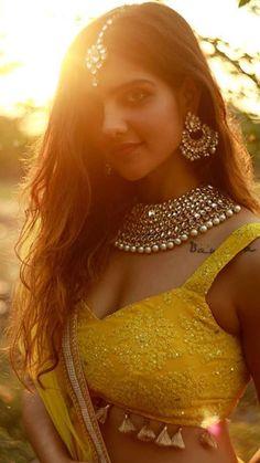 Yellow Lehenga Choli for Indian Wedding - Mayun, Mehndi Beautiful Girl Indian, Beautiful Girl Image, Most Beautiful Indian Actress, Pakistani Bridal Lehenga, Lehenga Choli Wedding, Yellow Lehenga, Indian Bridesmaids, Indian Wedding Outfits, Wedding Dresses