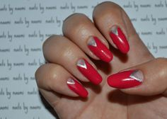 I really, REALLY love these nails! After cleaning, filing, and shaping the nail and applying a base coat: 1. use the brush from the bottle of a raspberry colored polish to fill in the top two thirds of the nail 2. use a striping brush with the same...