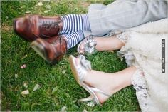 silver wedding shoes and striped socks | CHECK OUT MORE IDEAS AT WEDDINGPINS.NET | #bridesmaids