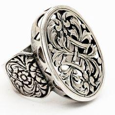 Vintage Victorian Signet Lace Sterling Silver Ring, Size 8 (V110)