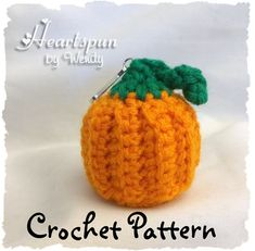 CROCHET PATTERN for Pumpkin EOS Lip Balm Holder, Pdf Format, Instant Download.  Make a cute holder for your eos or similar lip balm.