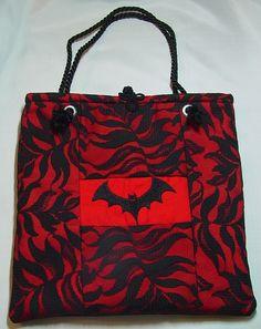 Feminine Gothic Vampire Bat Purse by WitchInStitches on Etsy.