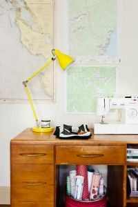 loving the pop of yellow against those old-school maps